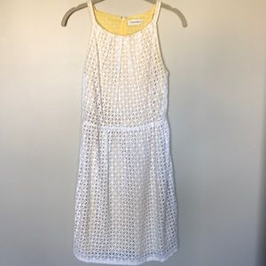White eyelet Dress with pale yellow underlay